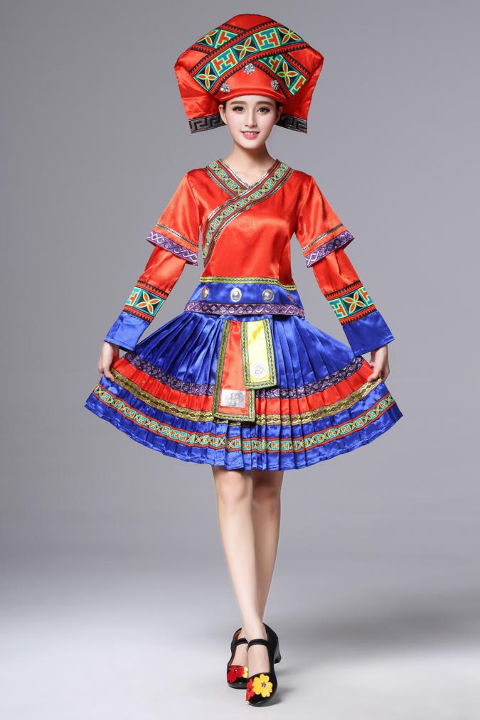 新疆维吾尔族_广西壮族服装土家族苗族,百褶裙少数民族服装- 中国风