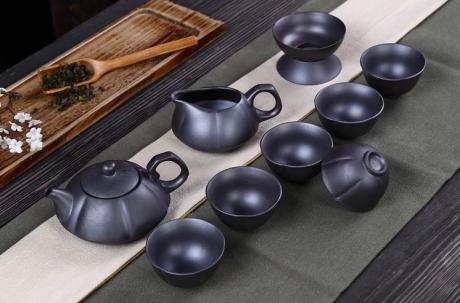 复古典雅的粗陶养生功夫茶具套