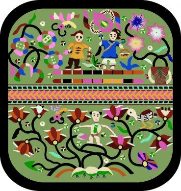 四款古典精美的传统人物刺绣图