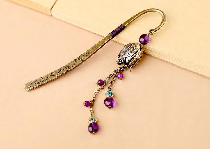 复古金属书签古典中国风紫水晶流苏书签