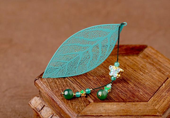 镂空树叶中国风绿色复古文艺书签