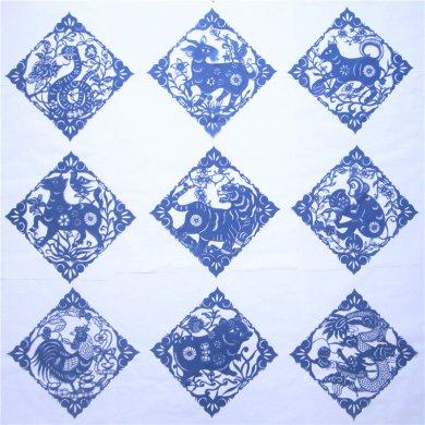 纯手工十二生肖菱形剪纸艺术
