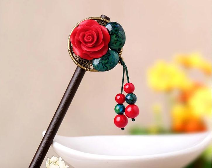 中国风漆雕花朵民族风流苏簪子头饰