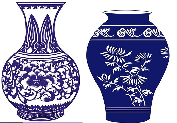 15款古典中国风青花瓷图案剪纸艺术