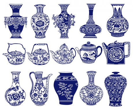 15款古典中国风青花瓷图案