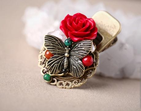 漆雕玫瑰复古盘发头饰,金属鸭