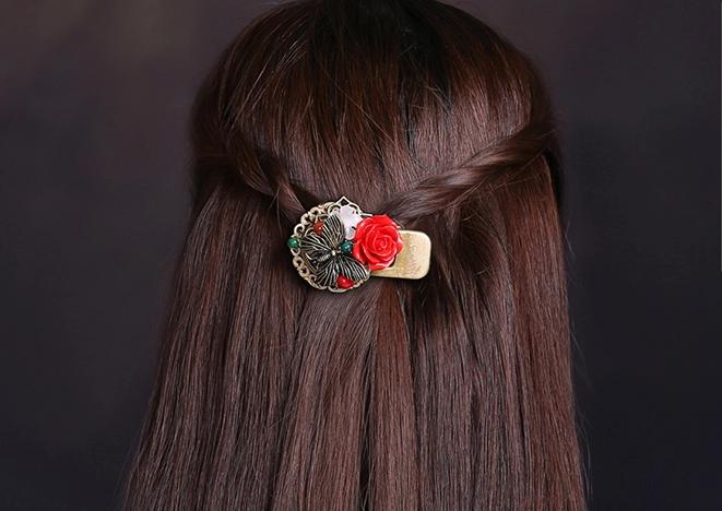 漆雕玫瑰复古盘发头饰,金属鸭嘴夹发夹