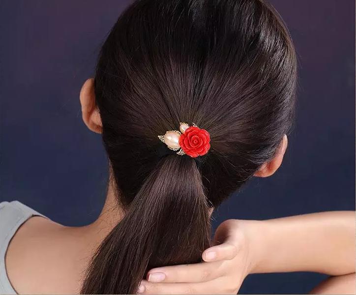 中国风红色花朵头饰小清新发圈发饰