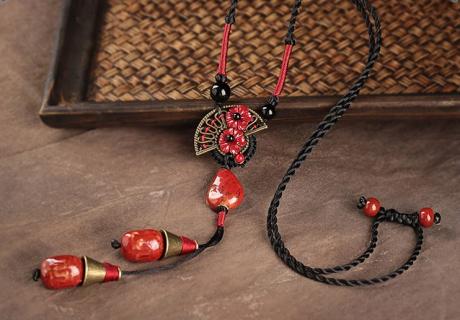 红陶瓷吊坠复古风毛衣链项链首