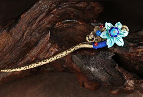 蓝色贝壳花朵发饰古风盘