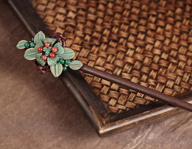 古铜色合金树叶盘发木簪子头饰