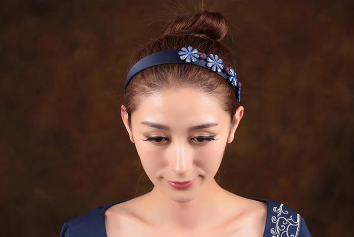 格桑花开中式发箍中国风蓝色清新头饰