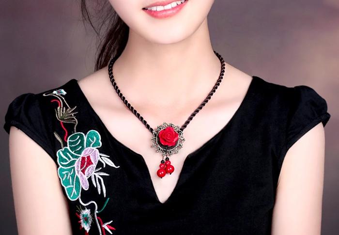 复古红色项链民族风首饰