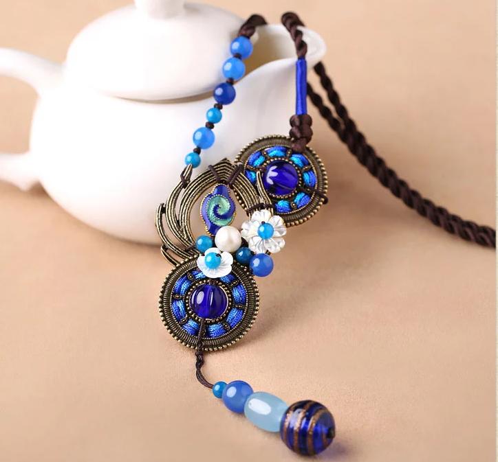 复古玛瑙项链蓝色毛衣链文艺首饰