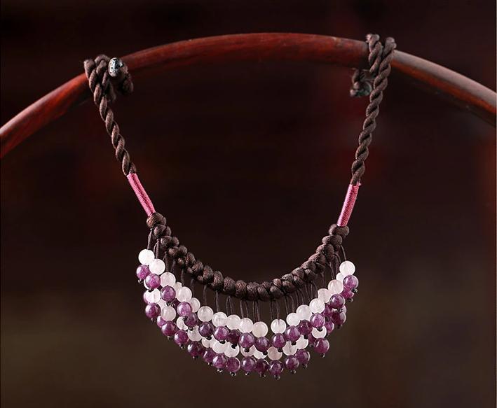彩玉流苏锁骨链波西米亚手工项链首饰