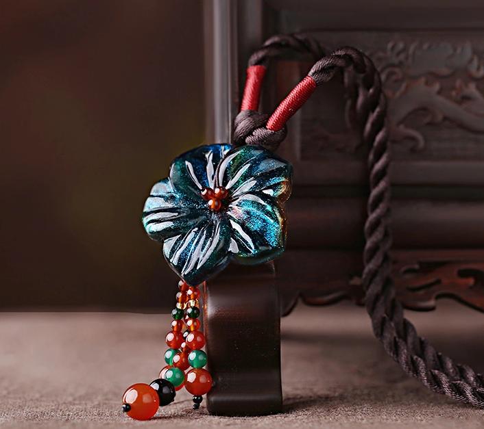 琉璃花朵吊坠时尚古风项链首饰