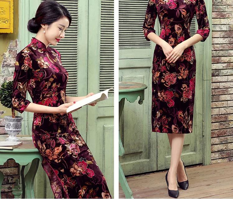 丝绒长款旗袍,改良中式旗袍