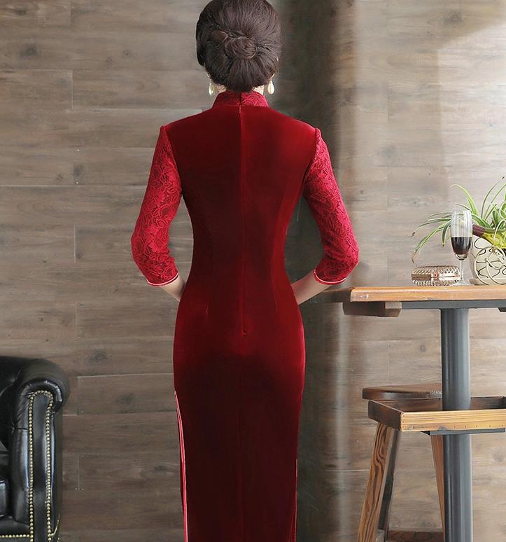 绣花蕾丝金丝绒长款旗袍,中袖优雅旗袍
