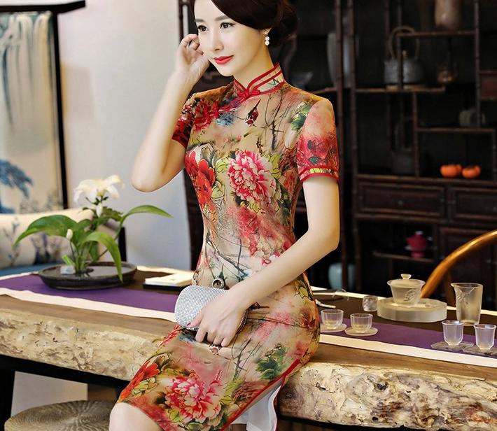 复古改良长款旗袍,真丝优雅旗袍