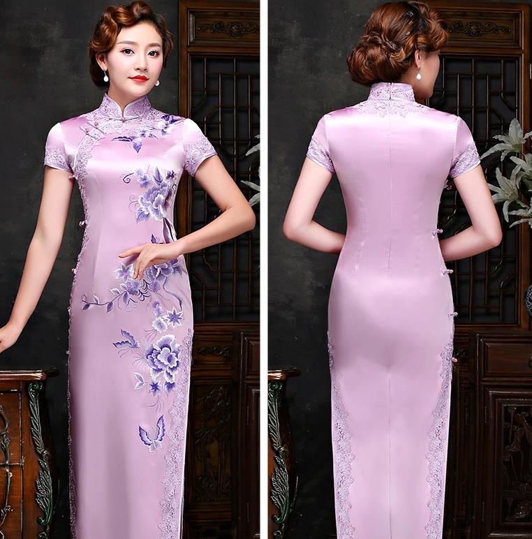 真丝绣花旗袍,复古气质蕾丝镶边旗袍