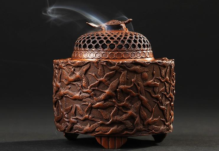 千鹤紫铜香炉,仿古纯铜熏香炉