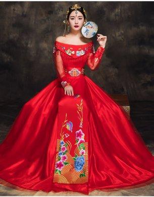 时尚中国风新娘礼服,一字肩中