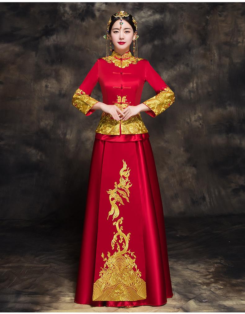 中国风新娘秀禾礼服,唯美中式结婚礼服