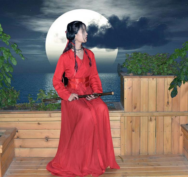 迪丽热巴凤九同款红色古装