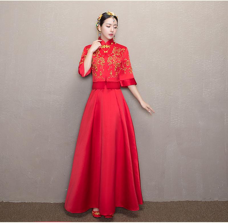 简单大气中式礼服,优雅复古时尚中国风新娘礼