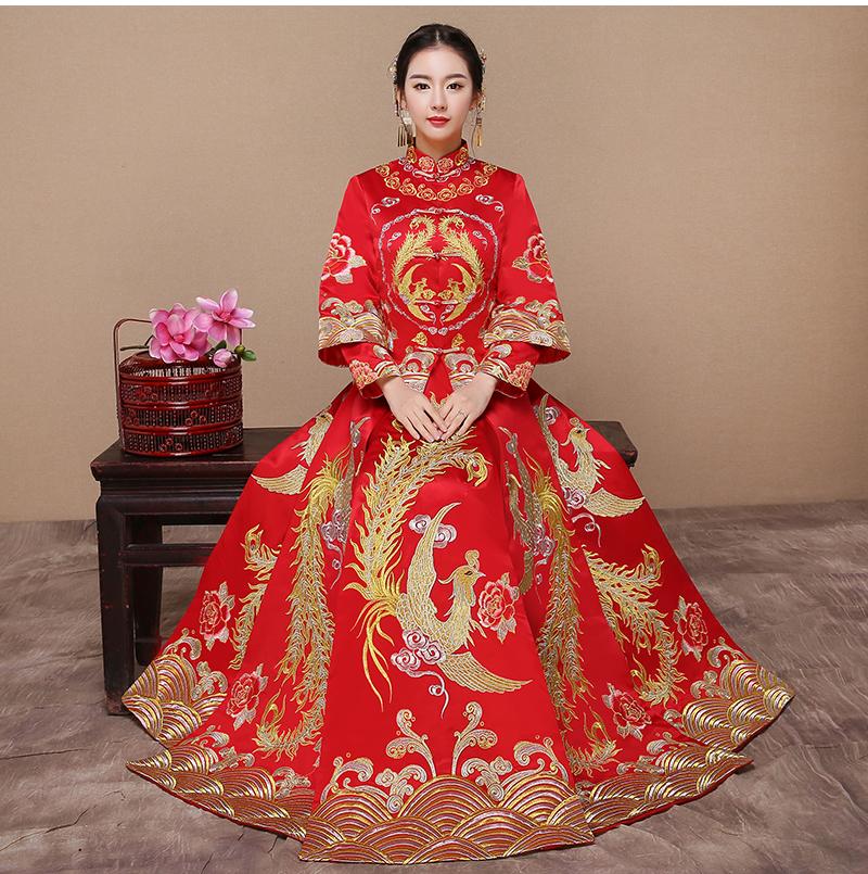 红色龙凤褂中式礼服,复古时尚中国风新娘礼服