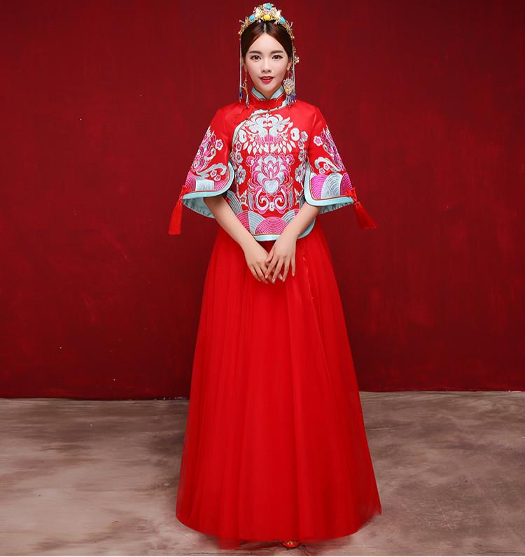时尚复古设计中式礼服,唯美飘逸新娘礼服