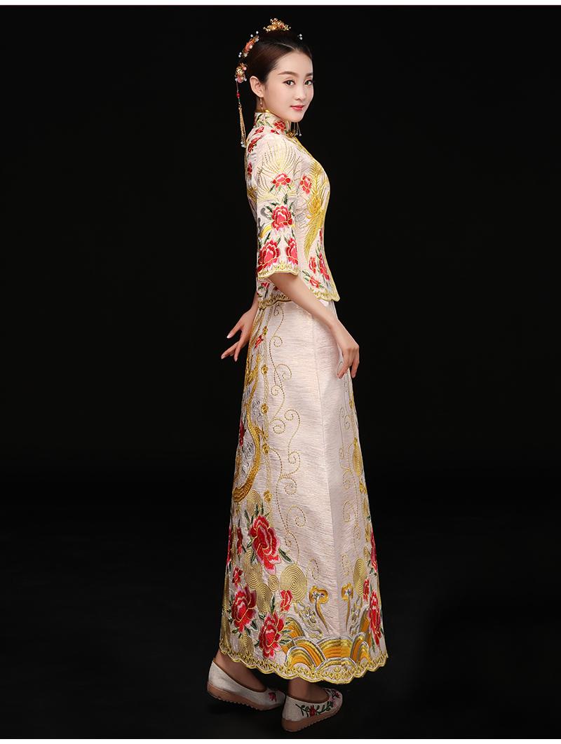 中式秀禾礼服,复古潮流新娘礼服
