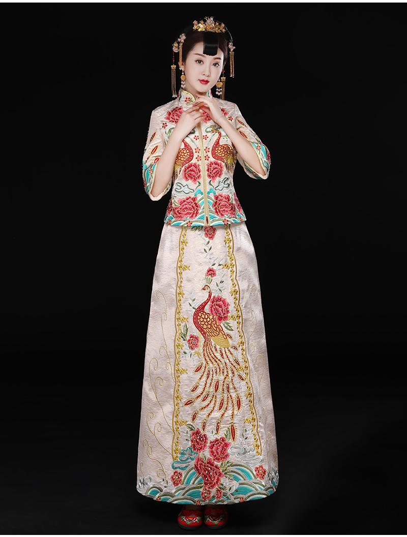 精致刺绣中式礼服,复古时尚新娘礼服