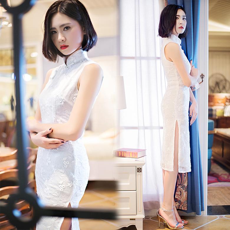 林志玲同款修身高贵优雅蕾丝绣花无袖改良旗袍