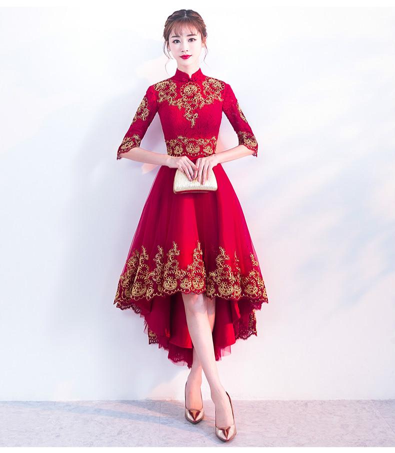时尚传统中式礼服,红色新娘晚礼服