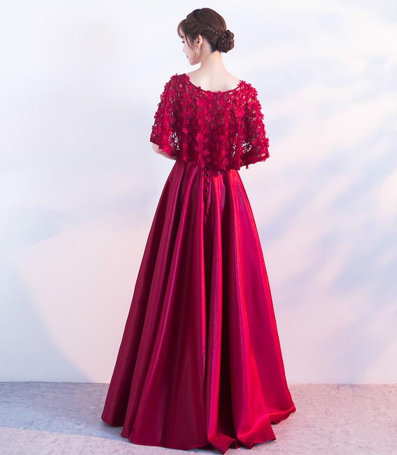 时尚中国风中式礼服,红色蕾丝花朵晚礼服