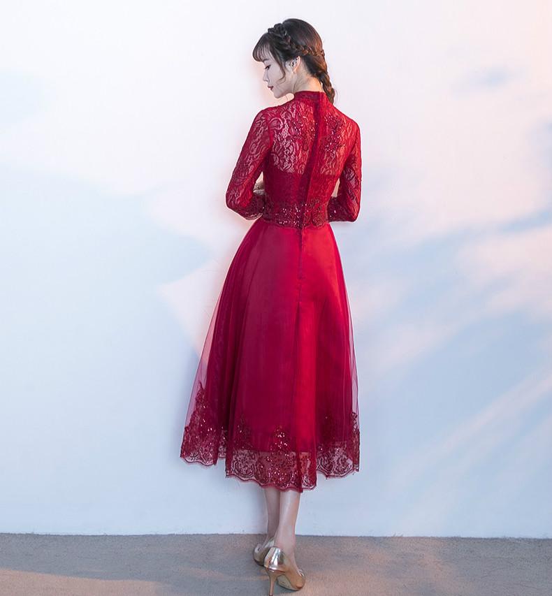 中国风红色中式礼服,长袖修身晚礼服