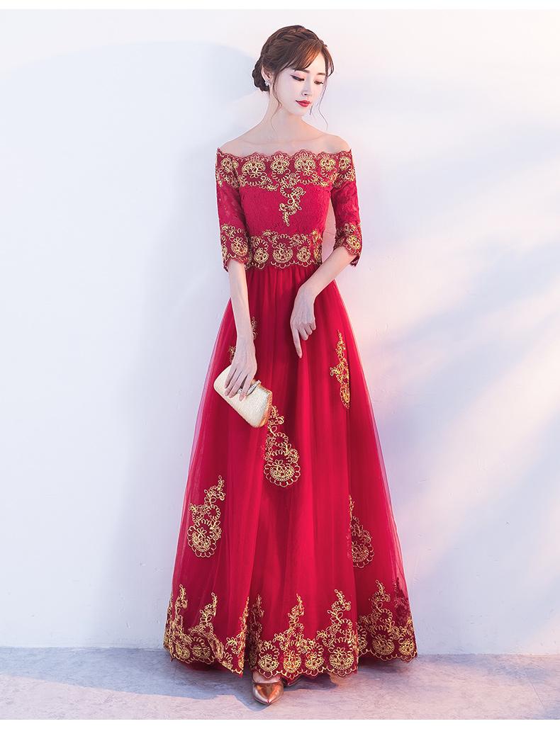 时尚一字肩中式礼服,红色复古蕾丝晚礼服