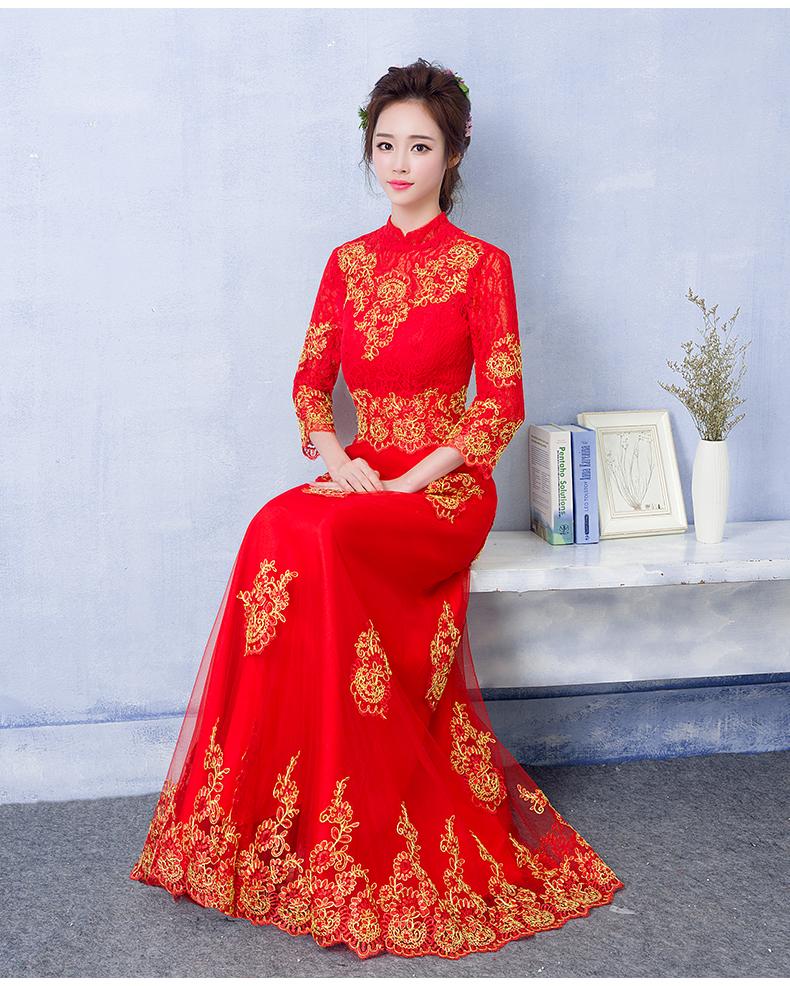 中国风蕾丝刺绣中式礼服,红色复古新娘晚礼服