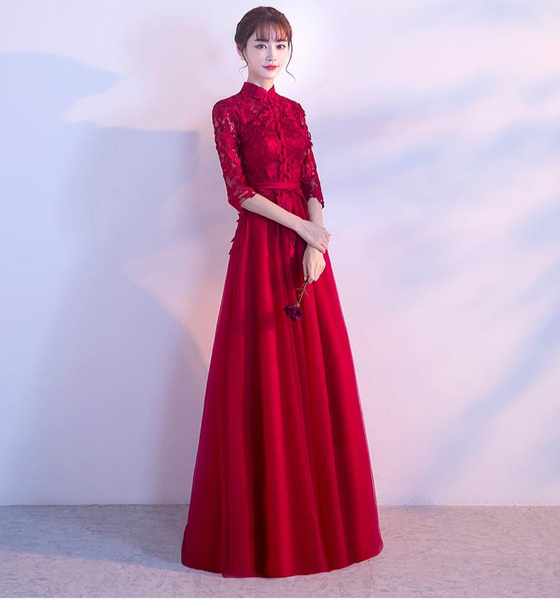 复古蕾丝中式礼服,优雅时尚晚礼服