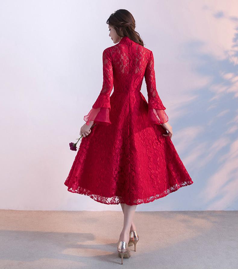 传统复古印花中式礼服,红色蕾丝新娘晚礼服