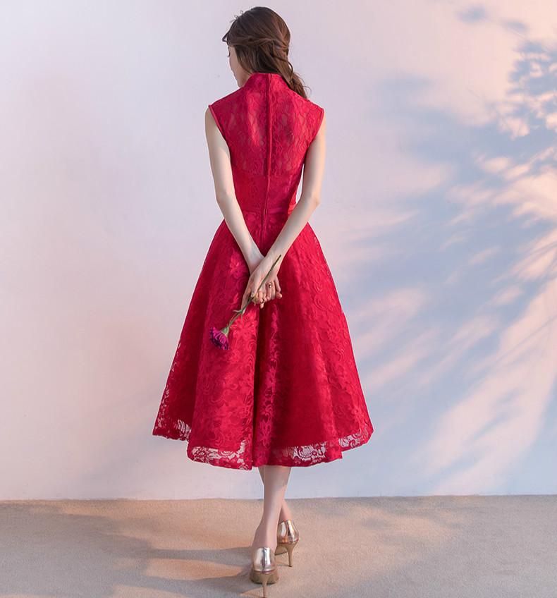 时尚无袖中式礼服,红色蕾丝印花晚礼服