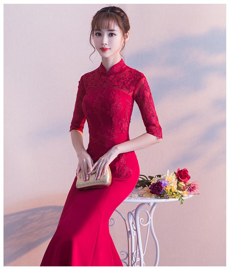 时尚中国风中式礼服,红色蕾丝花朵鱼尾晚礼服