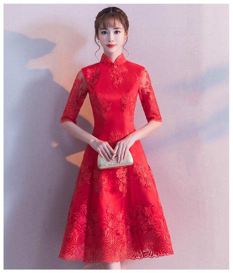 中袖立领中式礼服,复古中国风红色晚礼服