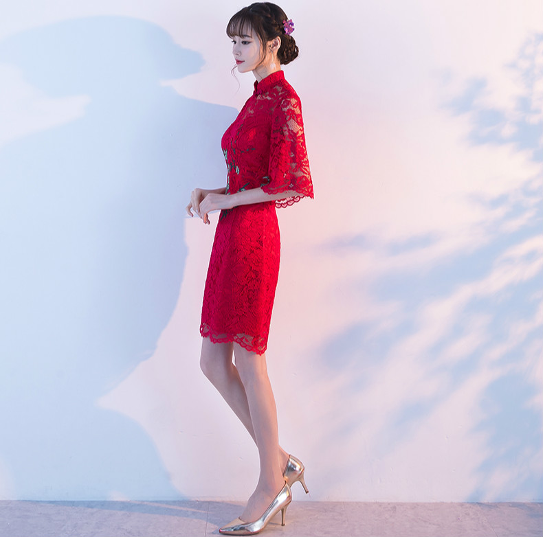 复古蕾丝敬酒服,红色花朵中式礼服