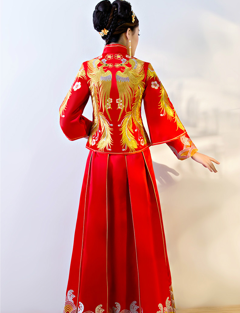 传统中式礼服,红色结婚新娘礼服