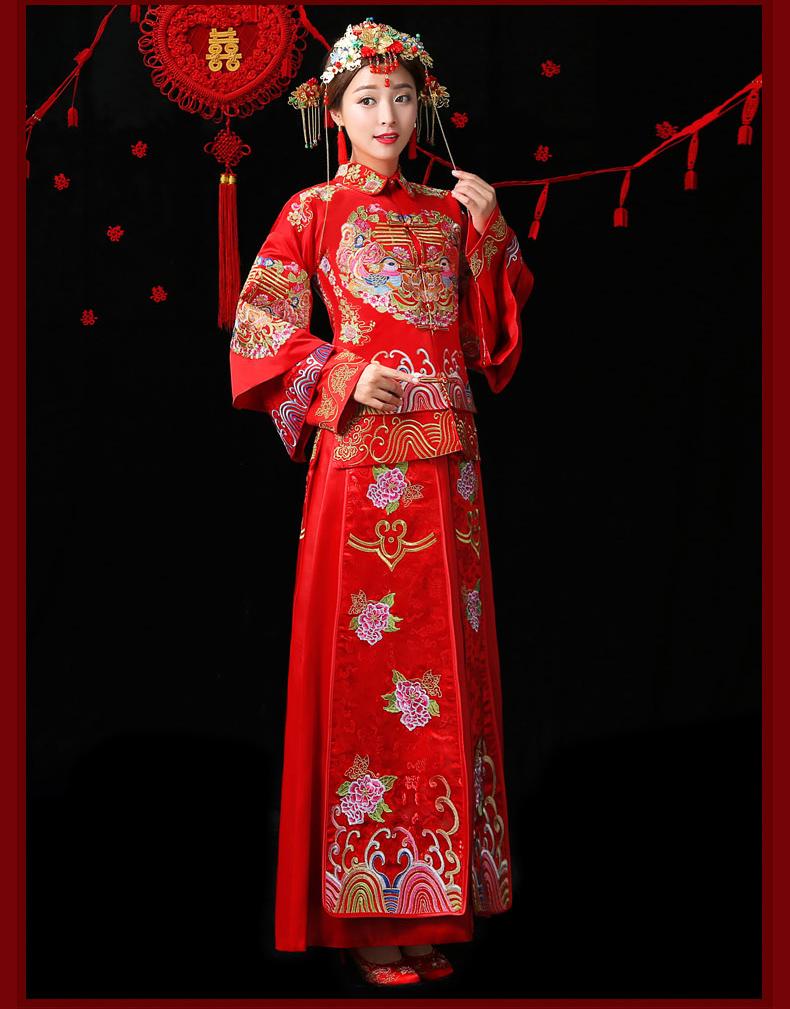 古典中国风中式礼服,红色结婚新娘礼服