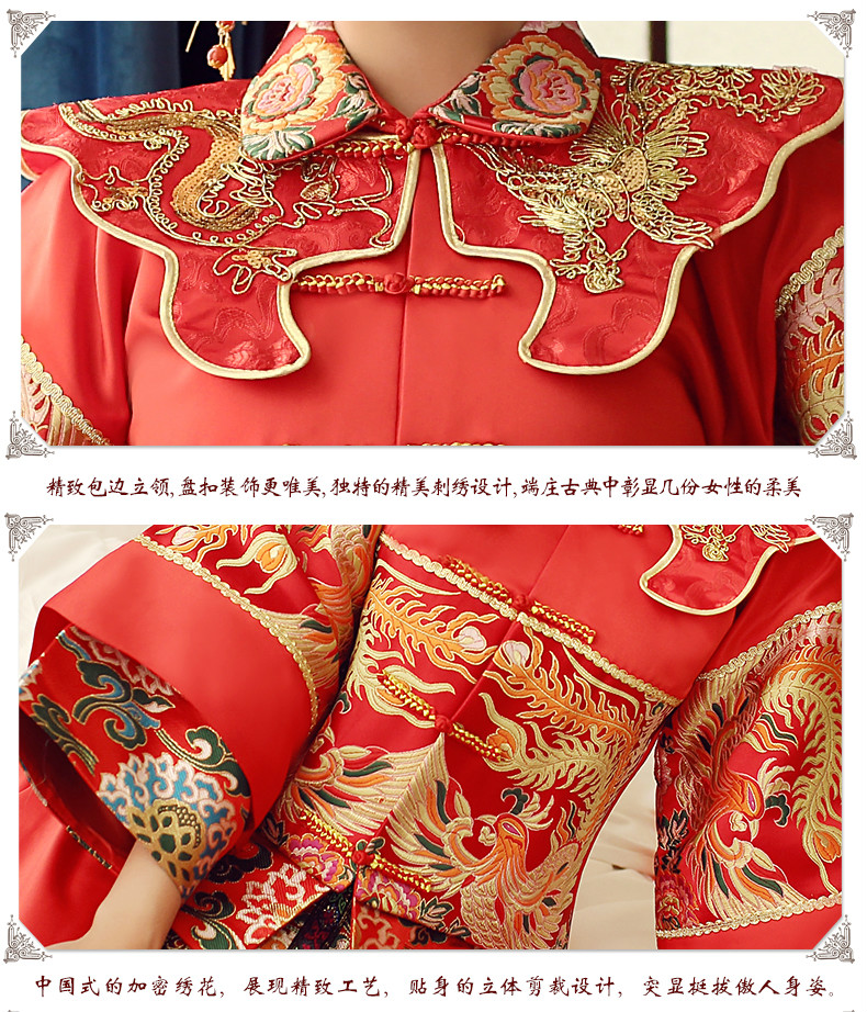 红色中式礼服,传统古典魅力新娘礼服