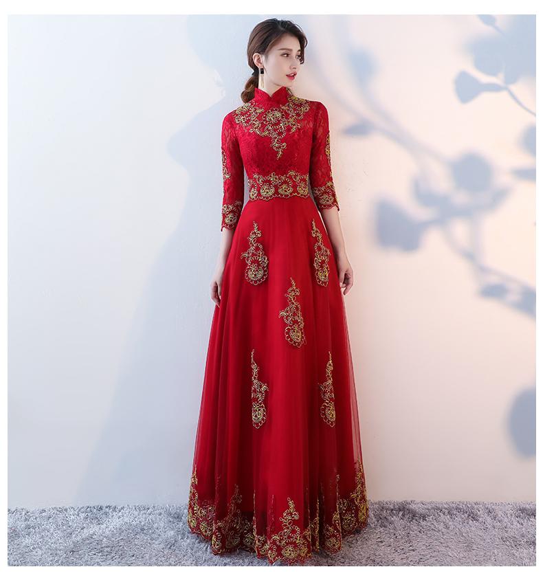 端庄典雅中式礼服,红色蕾丝长款晚礼服