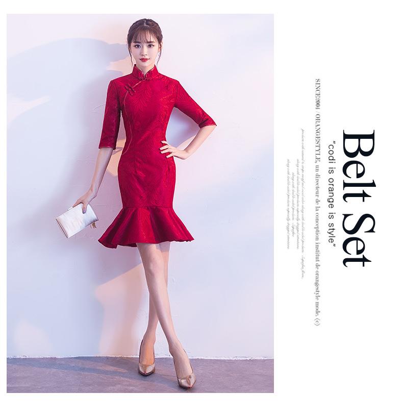 中国风复古花纹中式礼服,时尚优雅鱼尾晚礼服